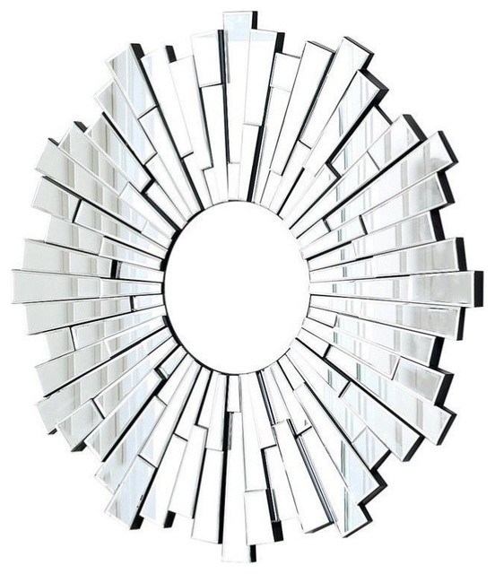 Abbyson Living Madison Glass And Wood Mirror, Silver.
