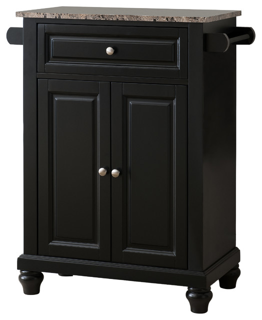 Savannah Marble-Top Kitchen Island, Black