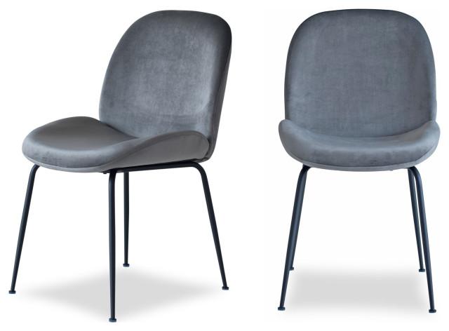 Verona Dining Chair, Set of 2, Dark Grey Velvet, Black Legs