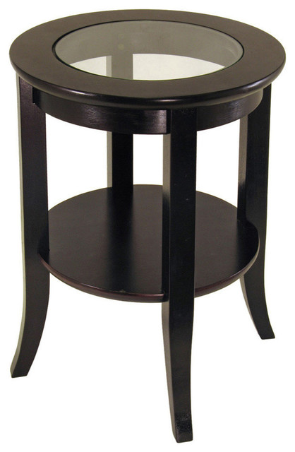 Dark Espresso Genoa End Table, Glass Inset, One Shelf Transitional Side  Tables