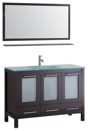 """48"""" Floor Bathroom Cabinet Tempered Glass Top With Mirror And Faucet."""