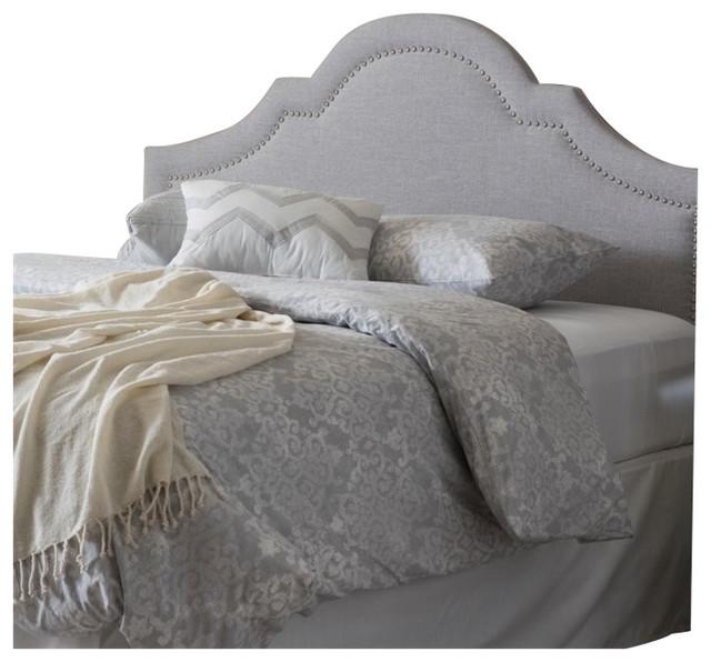 Rita Modern, Contemporary Grayish Beige Fabric Upholstered Full Size Headboard.