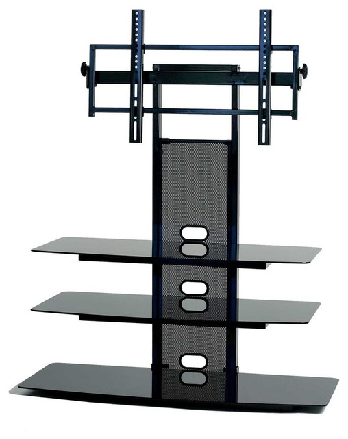 Black Glass Tv Stand With Flat Panel Tv Mount 32 52 Contemporary