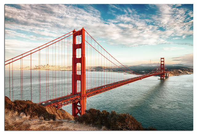 Genial Tempered Glass Wall Art, San Francisco Golden Gate Bridge 2  Traditional Prints And