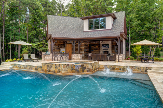 Pool House Outdoor Kitchen Pool Addition Rustic Swimming Pool Charlotte By Grainda Builders Inc