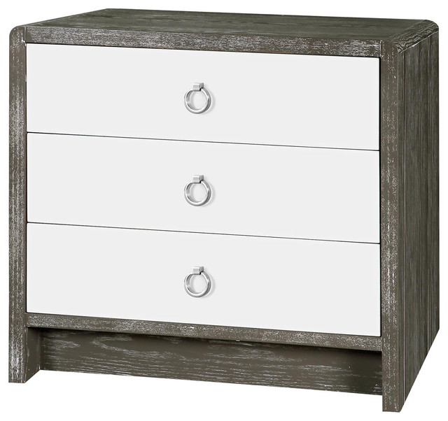 Cale Modern Limed Gray White Lacquer Silver Nightstand Nightstands And Bedside Tables By Kathy Kuo Home