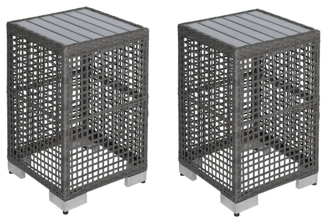Azura Gray Open Weave Resin Rattan End Tables, Set Of 2.