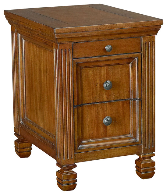 Hammary T73491-00 Hidden Treasures Chairside Table In Oak Finish.