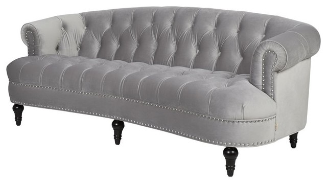 Chesterfield Tufted Sofa In Opal Gray