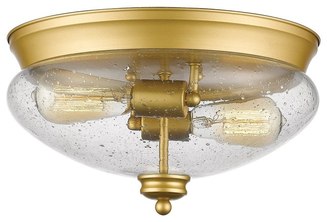 Z-Lite Amon Collection Flush Mount, Satin Gold.