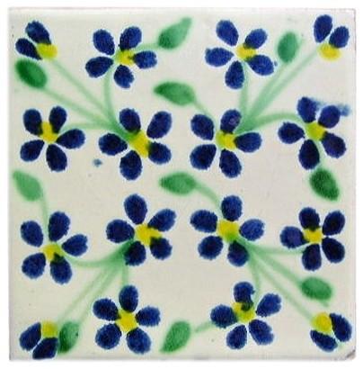 4.2x4.2 9 pcs Blue Violets Talavera Mexican Tile