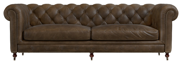 Fields Chesterfield 3-Seater Sofa, Walnut Leather.