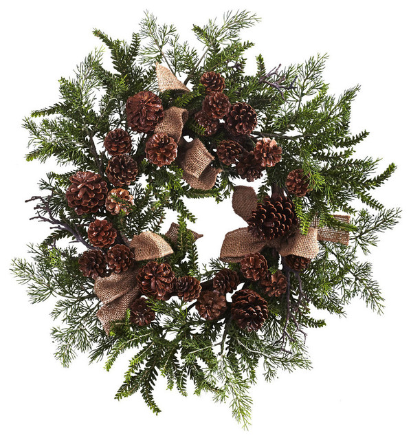 Pine And Pine Cone Wreath With Burlap Bows.