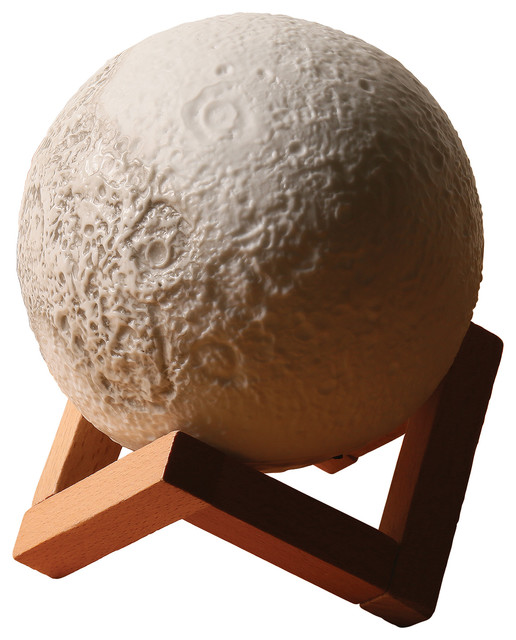 Moon Accent Lamp With Wood Base, Realistic Design.