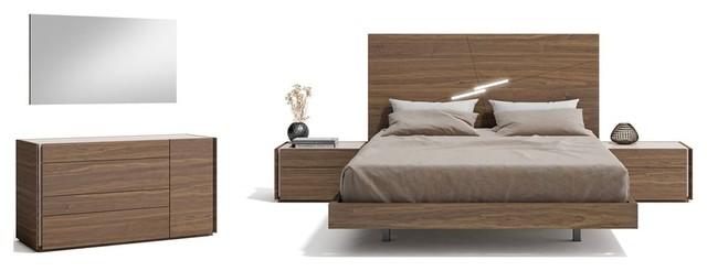 Faro Premium 5 Piece Bedroom Set, Walnut Queen Bed Set