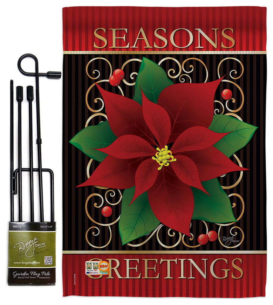 Seasons Greetings Poinsettia Winter Christmas Garden Flag Set Modern Flags And Flagpoles By Breeze Decor