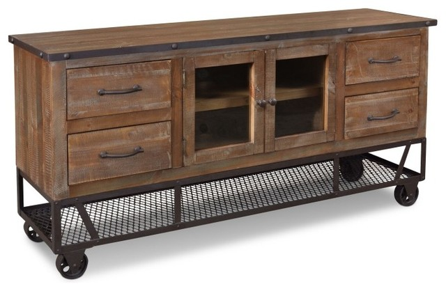 """Crafters and Weavers Rustic Industrial-Style 65"""" TV Stand ..."""