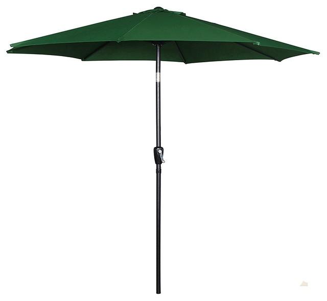 Outdoor Patio Umbrella With Push Button Tilt, Green 9&x27;.