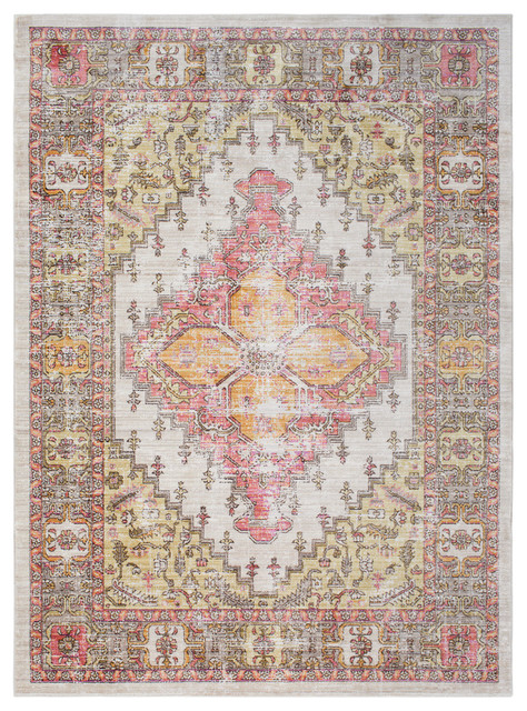 Germili Traditional Coral, Beige Area Rug, 2&x27;11x7&x27;10.