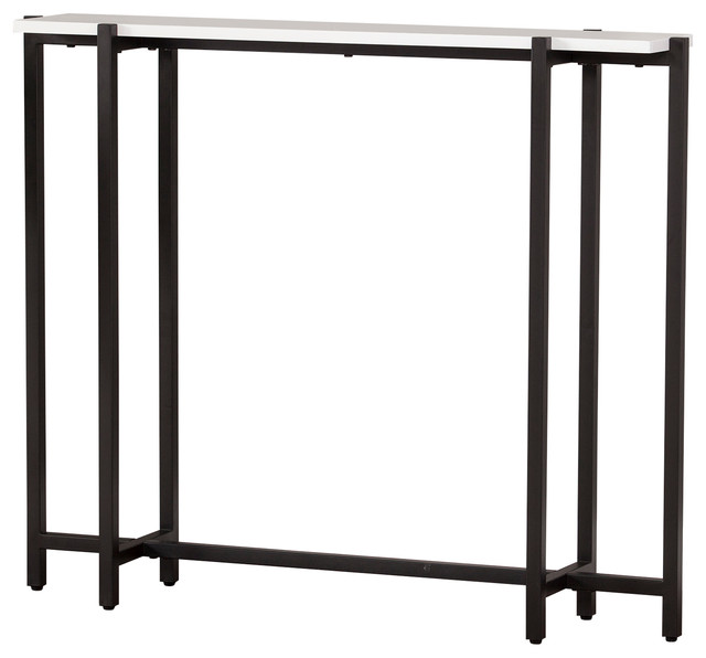 Holston Contemporary Narrow Console Table, Black With White.