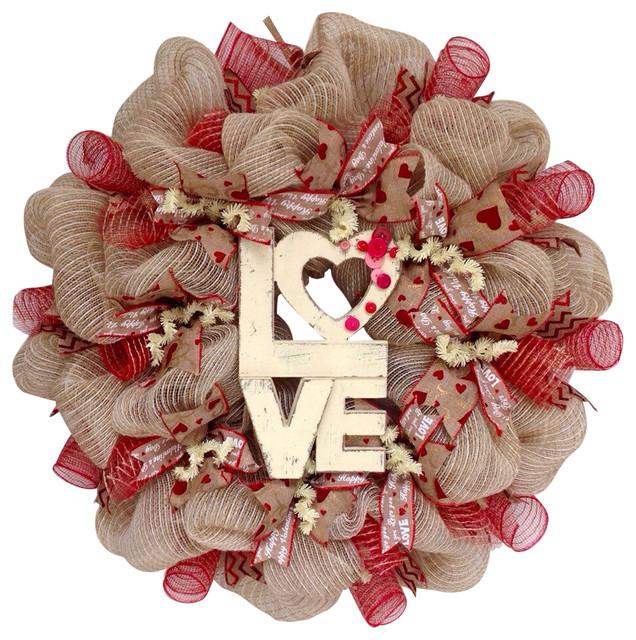 Love Button Natural Burlap Valentines Day Deco Mesh Wreath.