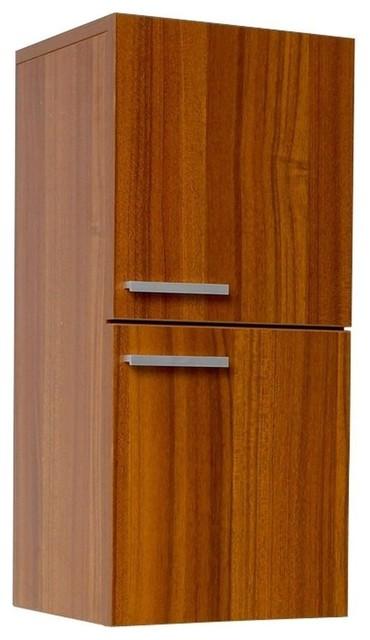 Fresca Teak Bathroom Linen Side Cabinet With 2 Storage Areas.