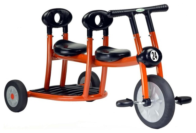 Toddlers' Orange Tricycle w 2 Seats, Pedals In Front Only