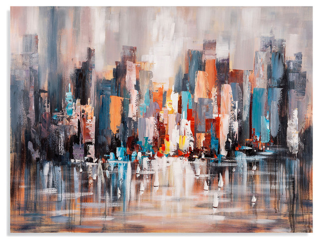 Cityscape Daytime On Canvas.