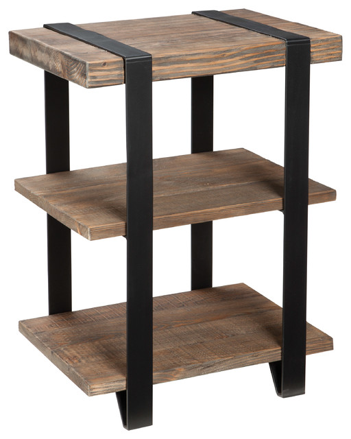 Modesto 2 Shelf Metal Strap and Reclaimed Wood End Table  Rustic Natural  rustic. Modesto 2 Shelf Metal Strap and Reclaimed Wood End Table  Rustic