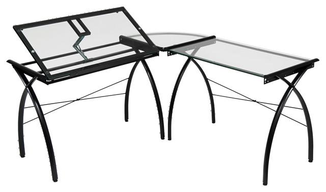 Offex Futura Ls Workcenter With Tilt Desk, Black/clear Glass.