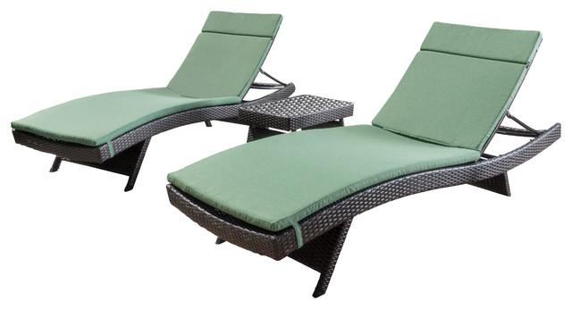 Savana Outdoor Wicker Lounge 3-Piece Set, Multibrown/jungle Green.