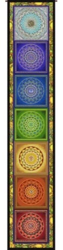 """Chakra Ladder, Full Color Tapestry As Shown, 11.25"""" X 63.25"""" Wall Hanging, Chakr."""