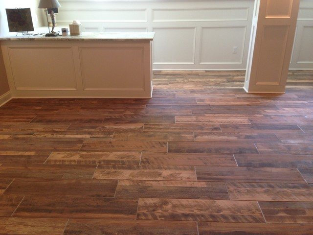 Finished basement tile contemporary