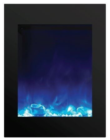 "Zecl Electric Fireplace With Black Surround And 3 Colors Media, 29""."