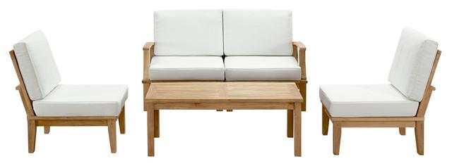 5-Piece Outdoor Teak Set, Natural - Transitional - Outdoor Lounge ...