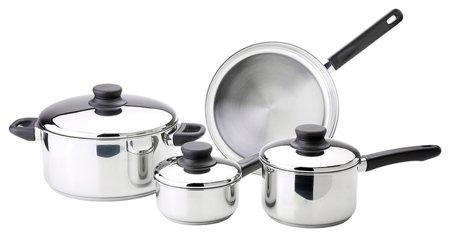 7-Piece Stainless Steel Cookware Set With Lid.