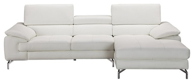 Alice Premium Leather Sectional Sofa White Right Hand Facing Chaise