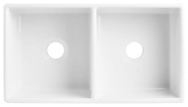 "Turner Farmhouse Fireclay 33"" Double Bowl Kitchen Sink, Crisp White"