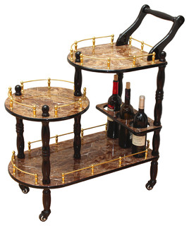3-Tier Serving Tea Cart, Gold Marble Finish