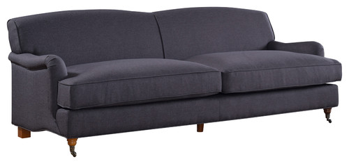 Mid Century Modern Large Linen Fabric Sofa With Casters, Dark Gray