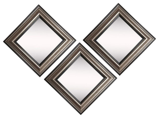American Made Rayne Antique Silver Wall Mirror, Set of 3
