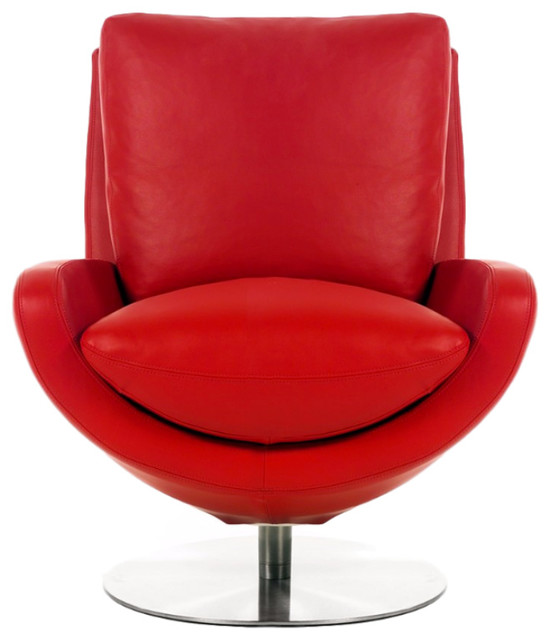 Minorca leather swivel chair modern armchairs and for Modern swivel accent chair