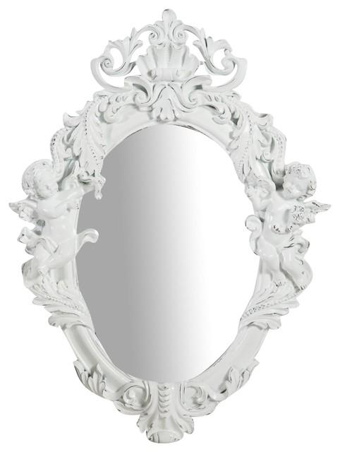 Cherub Oval Wall Mirror, White, 35x50 cm