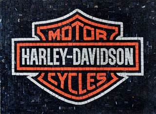 Harley Davidson Marble Mosaic Logo Contemporary Tile Murals By Mozaicoart