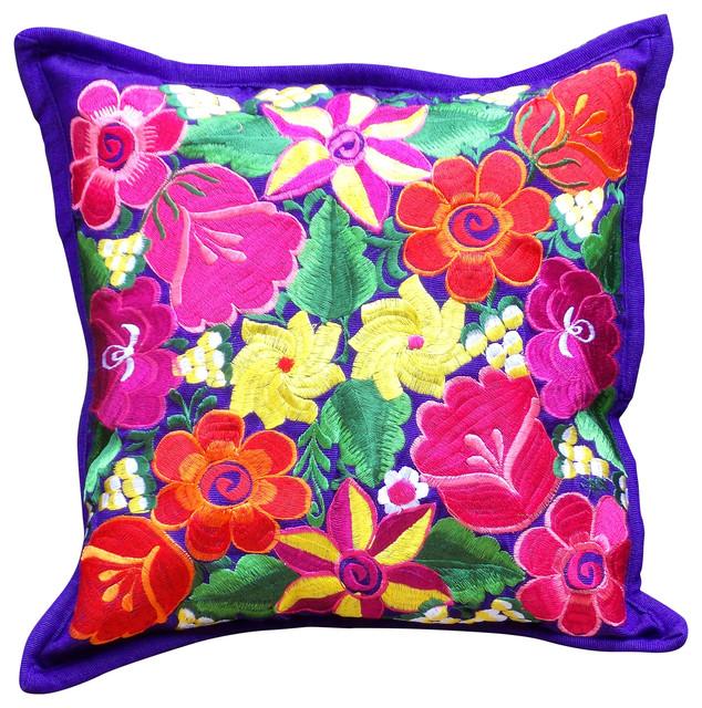 Eclectic Pillow Cases : Juniper Floral Throw Pillowcase, Purple - Eclectic - Pillowcases And Shams - by Fresco Fabrics