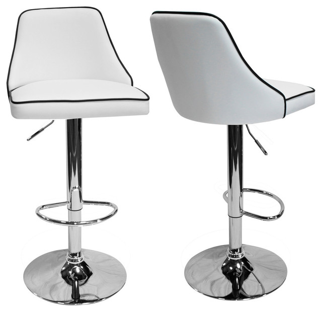 Fantastic Aaron Presley Faux Leather Adjustable Swivel Bar Stools Set Of 2 White Squirreltailoven Fun Painted Chair Ideas Images Squirreltailovenorg