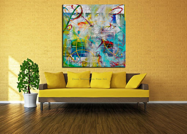 "Original Abstract Painting ""A Bright Sunny Day""  by Artist: Dora Woodrum"