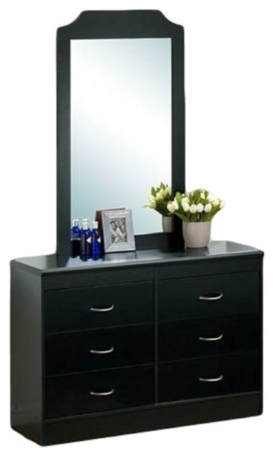 6-Drawer Dresser With Mirror, Black.
