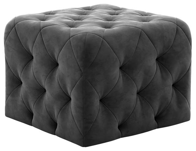 Peachy Novogratz Vintage Tufted Ottoman Square Gray Velvet Pabps2019 Chair Design Images Pabps2019Com