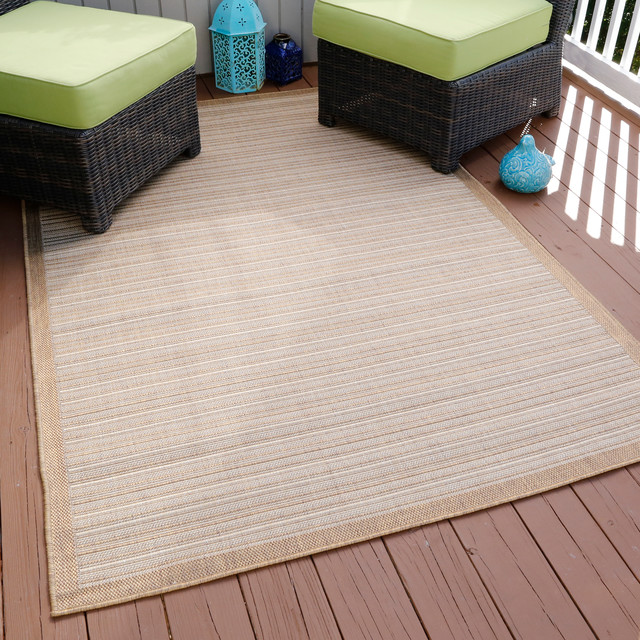 Casual Stripe Indoor/outdoor Area Rug, 5&x27;x7&x27;7, Beige.